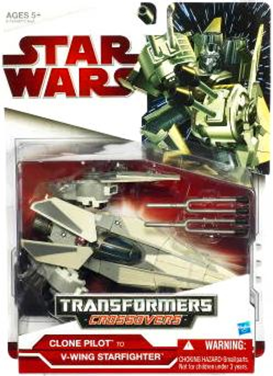 Star Wars The Clone Wars Transformers Crossovers 2009 Clone Pilot to V-Wing Starfighter Action Figure