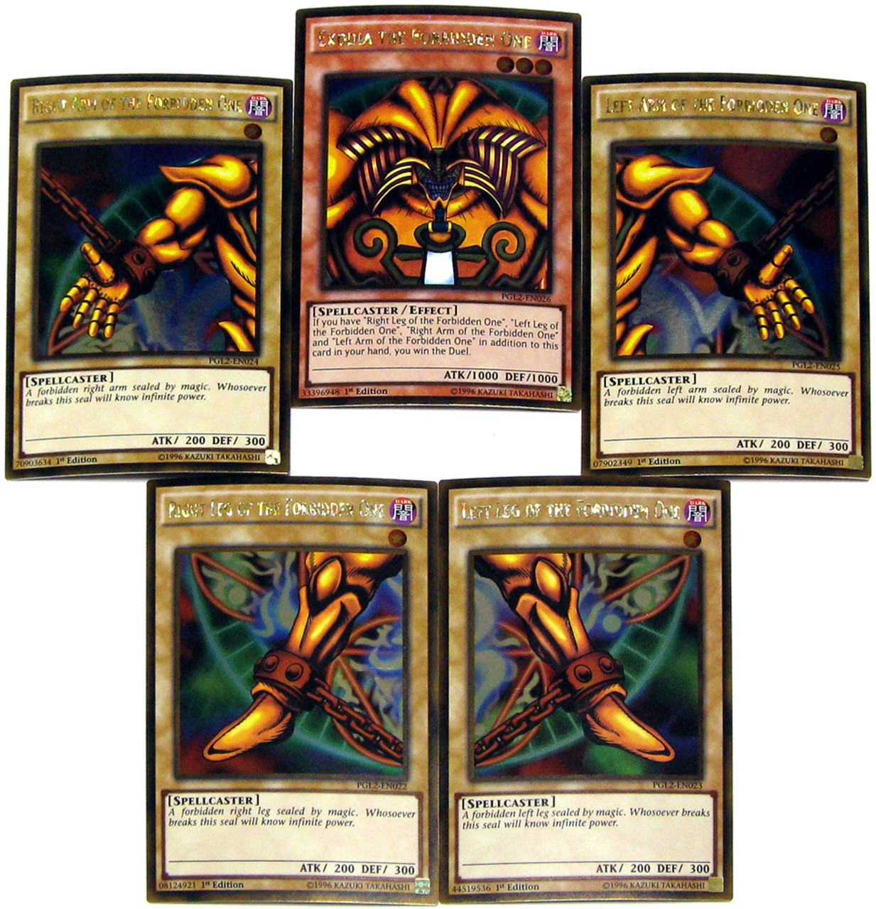 All cards on one card - Yugioh Premium Gold Return Of The Bling Set Of All 5 Parts Of Exodia The