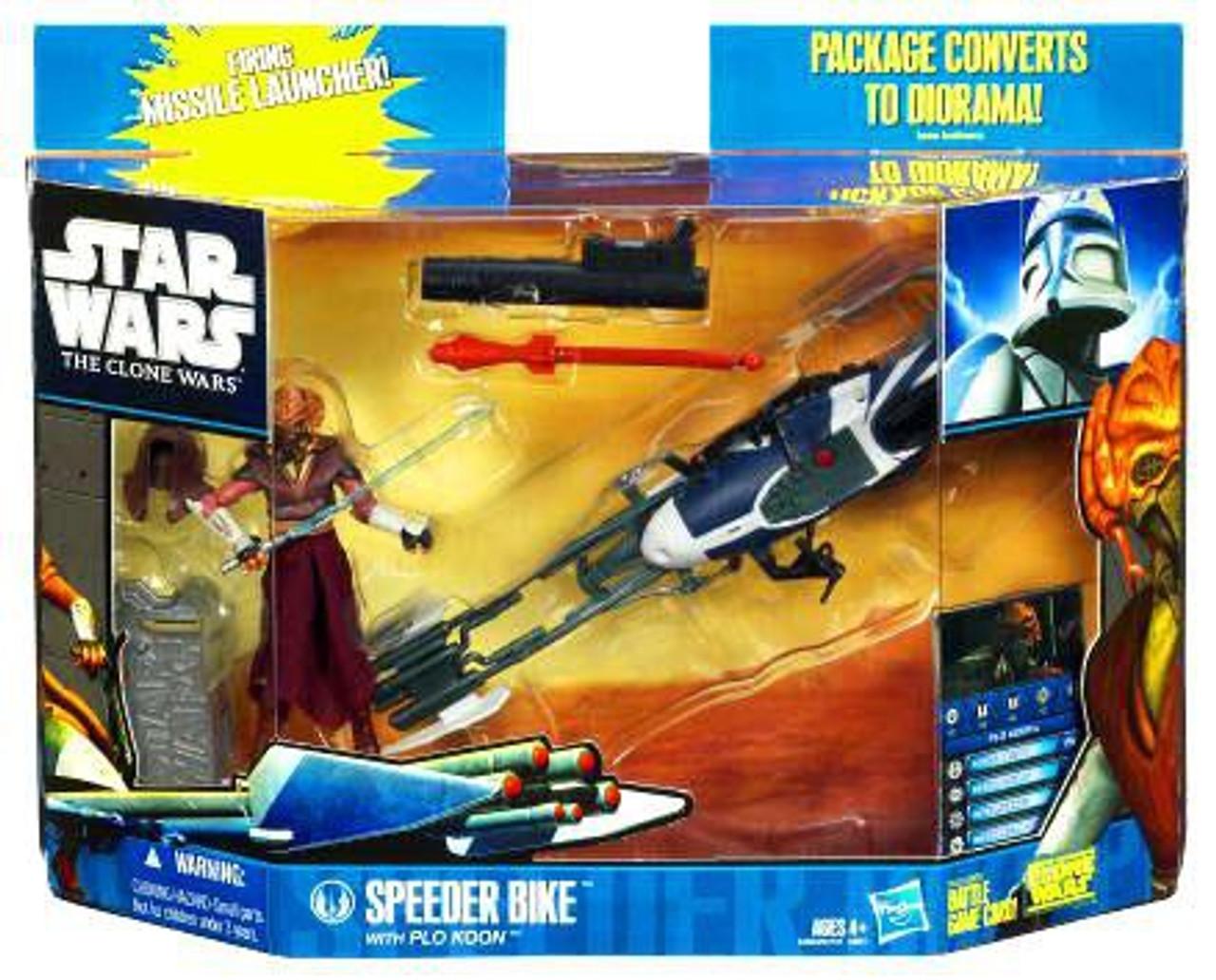 Star Wars The Clone Wars Vehicles & Action Figure Sets 2010 Speeder Bike with Plo Koon Action Figure Set
