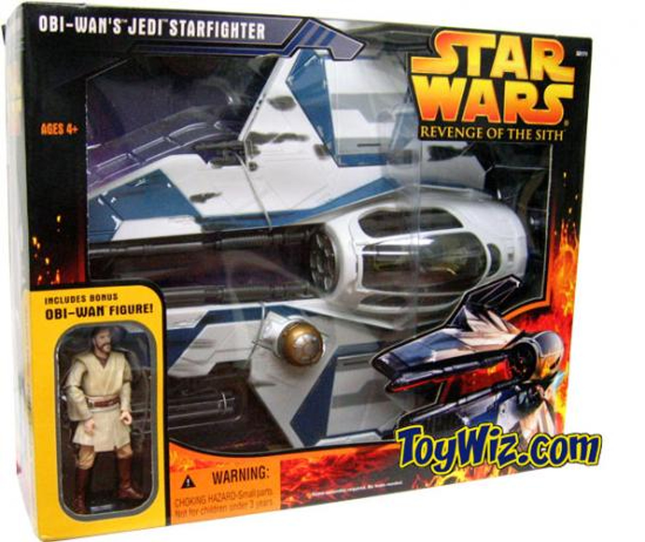 Star Wars Revenge of the Sith 2005 Obi-Wan's Jedi Starfighter Exclusive Action Figure Vehicle [Blue Trim]