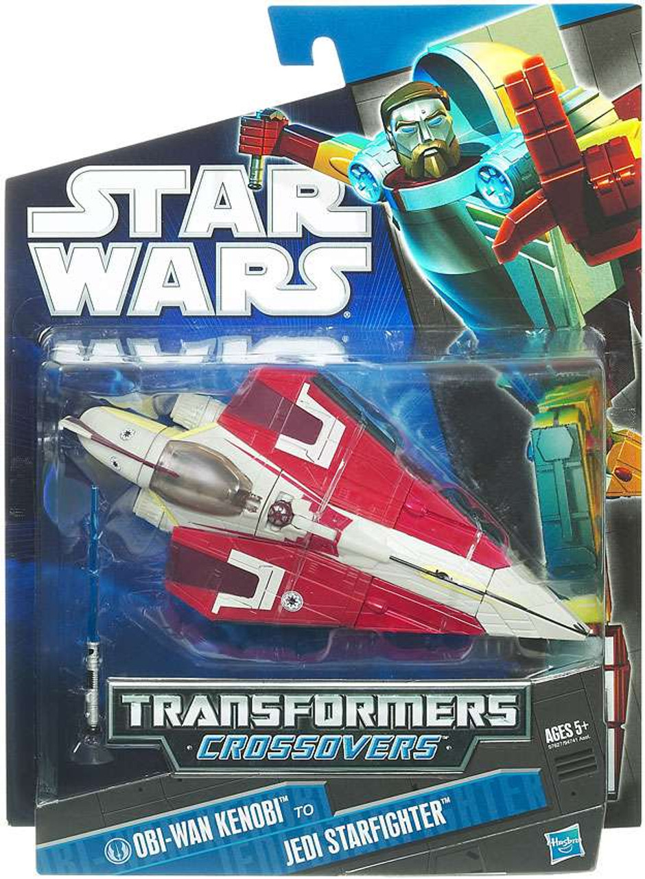 Star Wars Attack of the Clones Transformers Crossovers 2010 Obi-Wan Kenobi to Jedi Starfighter Action Figure