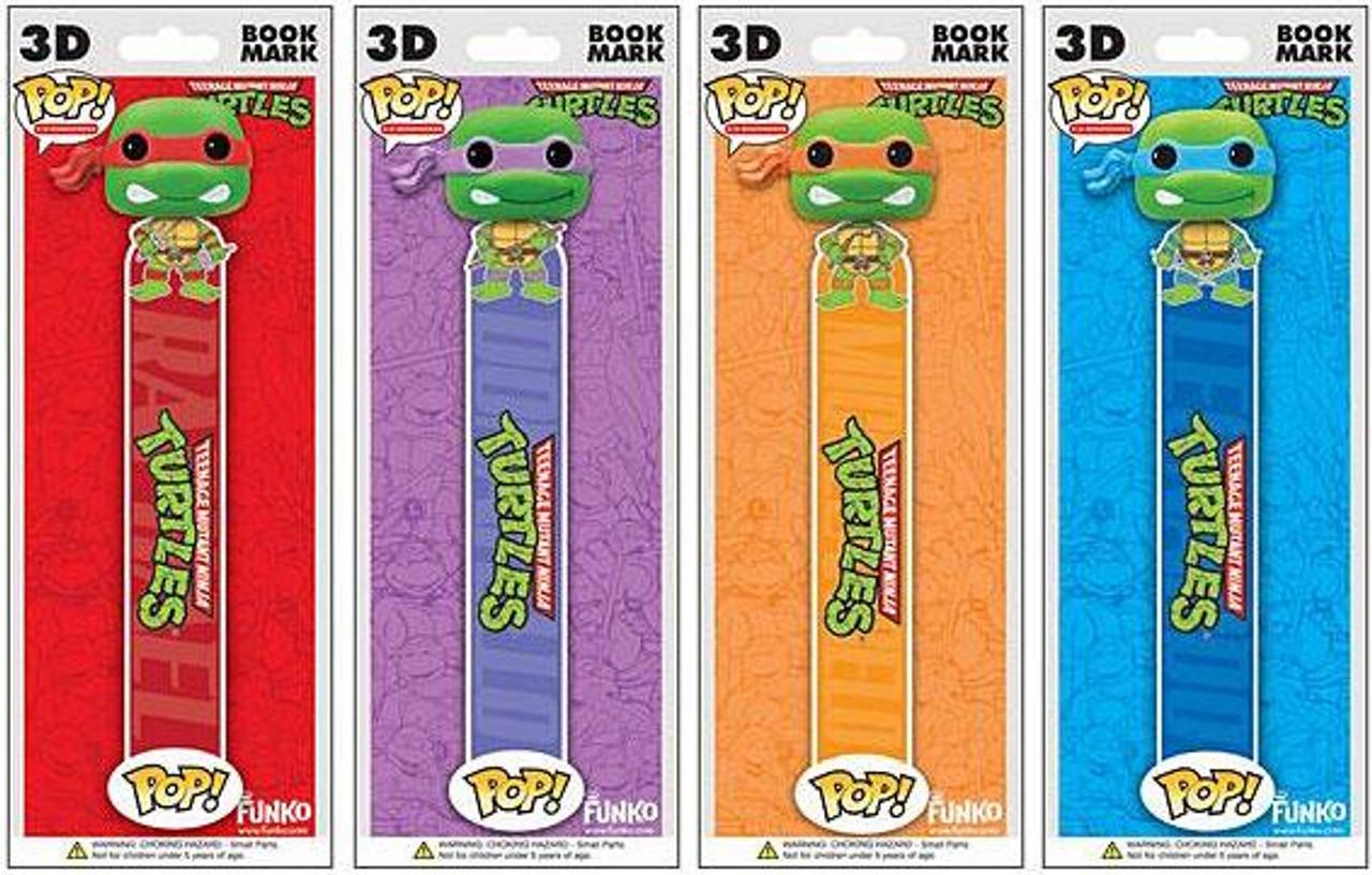 Teenage Mutant Ninja Turtles Funko POP! TV Raphael, Leonardo, Donatello & Michelangelo Book Mark Set