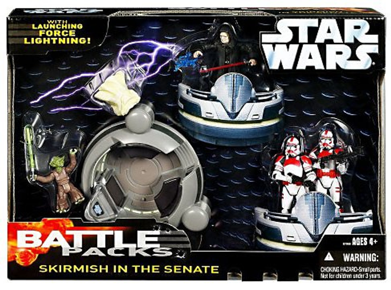 Star Wars Revenge of the Sith Battle Packs 2006 Skirmish in the Senate Action Figure Set [Yoda, Emperor Palpatine, 2x Red Clone Troopers]