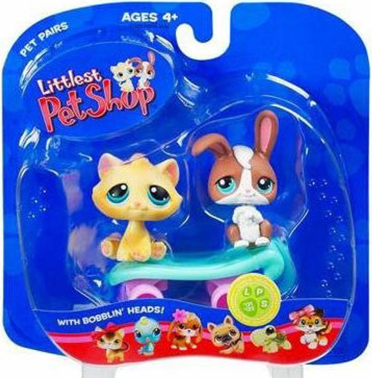 Littlest Pet Shop Pet Pairs Bunny & Cat Figure 2-Pack [Skateboard]