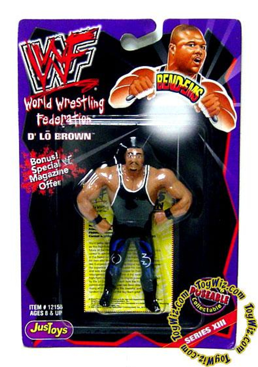 WWE Wrestling WWF Bend-Ems Series 13 D'Lo Brown Rubber Figure