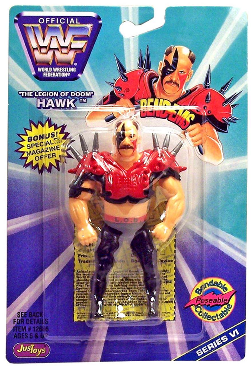 WWE Wrestling WWF Bend-Ems Series 6 Hawk Action Figure