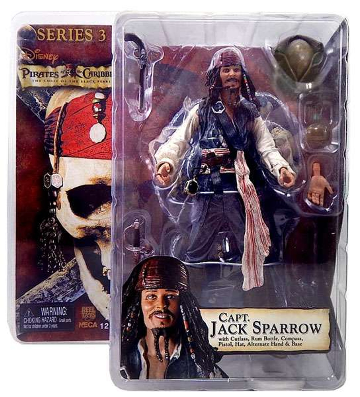NECA Pirates of the Caribbean Curse of the Black Pearl Series 3 Captain Jack Sparrow Action Figure