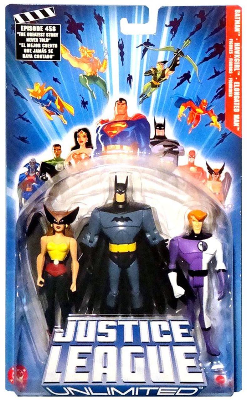 Justice League Unlimited Batman, Hawkgirl & Elongated Man Action Figure 3-Pack