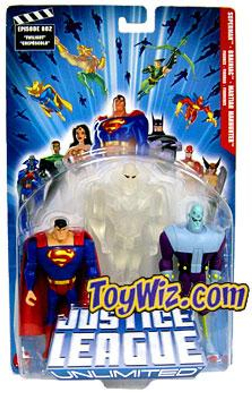 Justice League Unlimited Superman, Martian Manhunter & Brainiac Action Figure 3-Pack [Clear White]