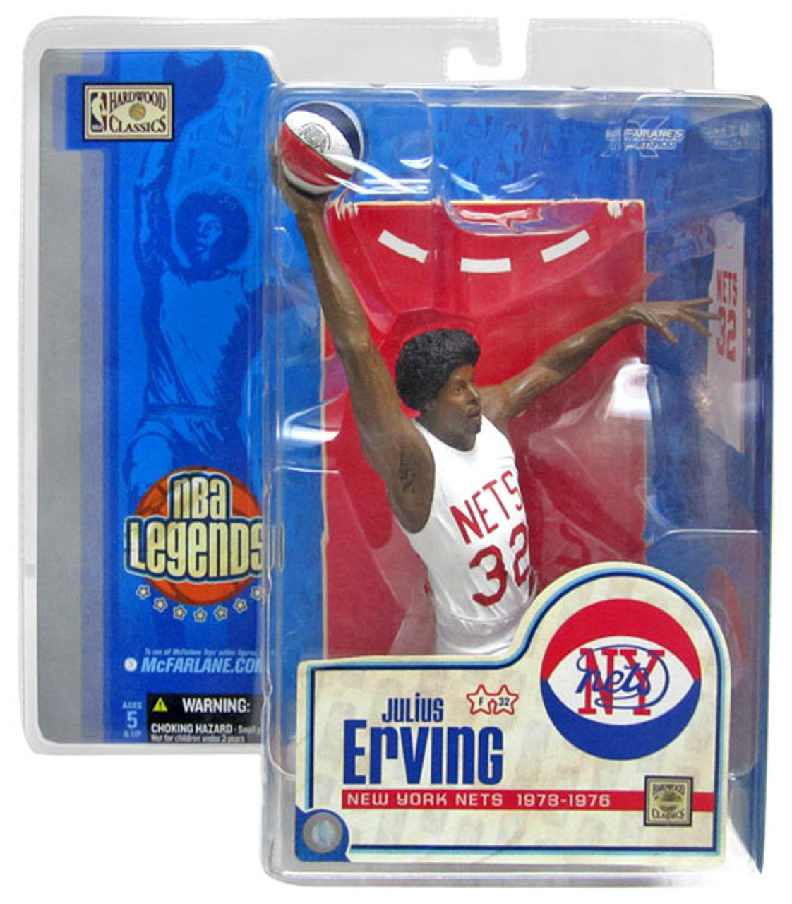 McFarlane Toys NBA New York Nets Sports Picks Legends Series 1 Julius Erving Action Figure [White Jersey Variant]