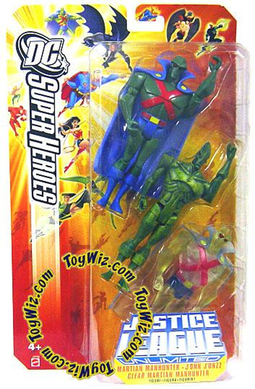 DC Justice League Unlimited Super Heroes Martian Manhunter, J'onn J'onzz & Clear Martian Manhunter Action Figures