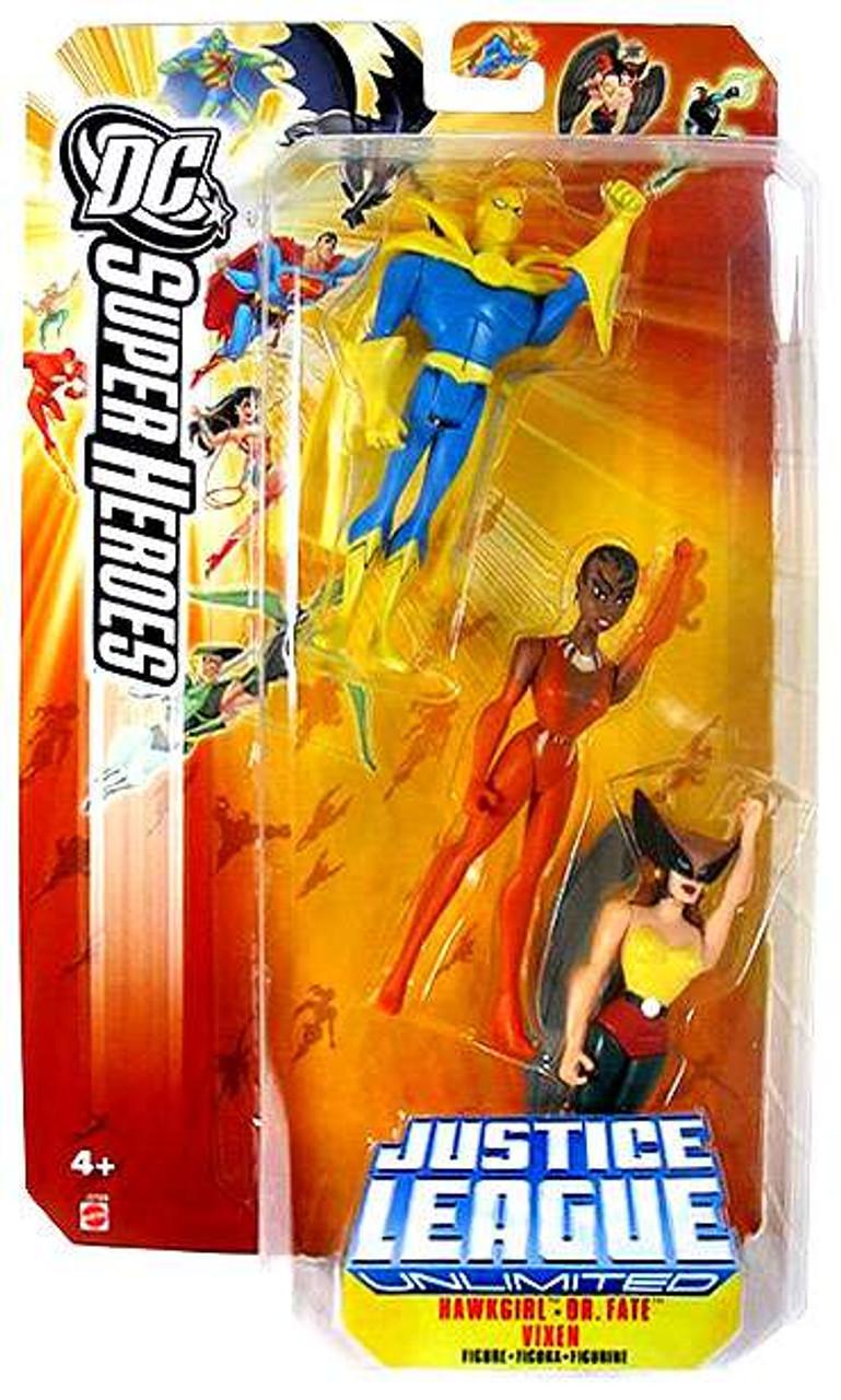 DC Justice League Unlimited Super Heroes Hawkgirl, Dr. Fate & Vixen Action Figures