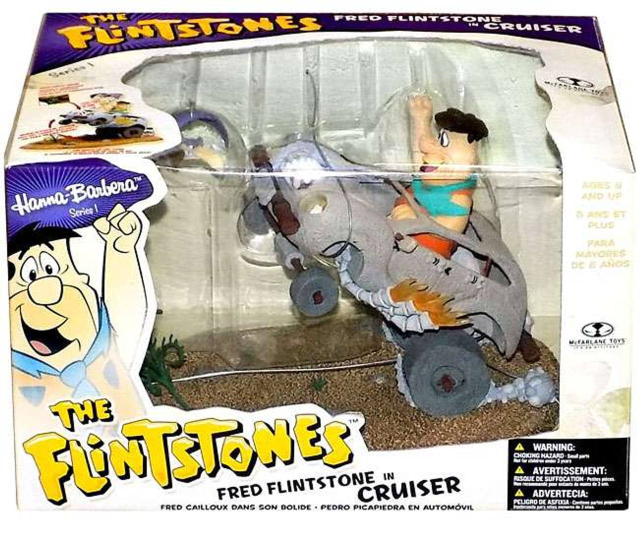 McFarlane Toys Hanna-Barbera The Flintstones Series 1 Fred Flintstone in Cruiser Action Figure Set