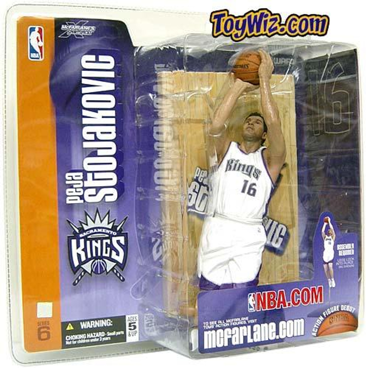 McFarlane Toys NBA Sacramento Kings Sports Picks Series 6 Peja Stojakovic Action Figure [White Jersey, Damaged Package, Mint Contents!]