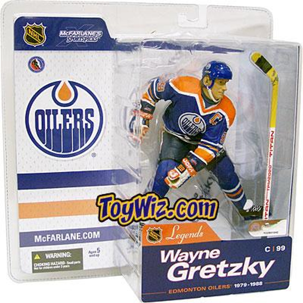 McFarlane Toys NHL Edmonton Oilers Sports Picks Legends Series 1 Wayne Gretzky Action Figure [Blue Jersey, Damaged Package]