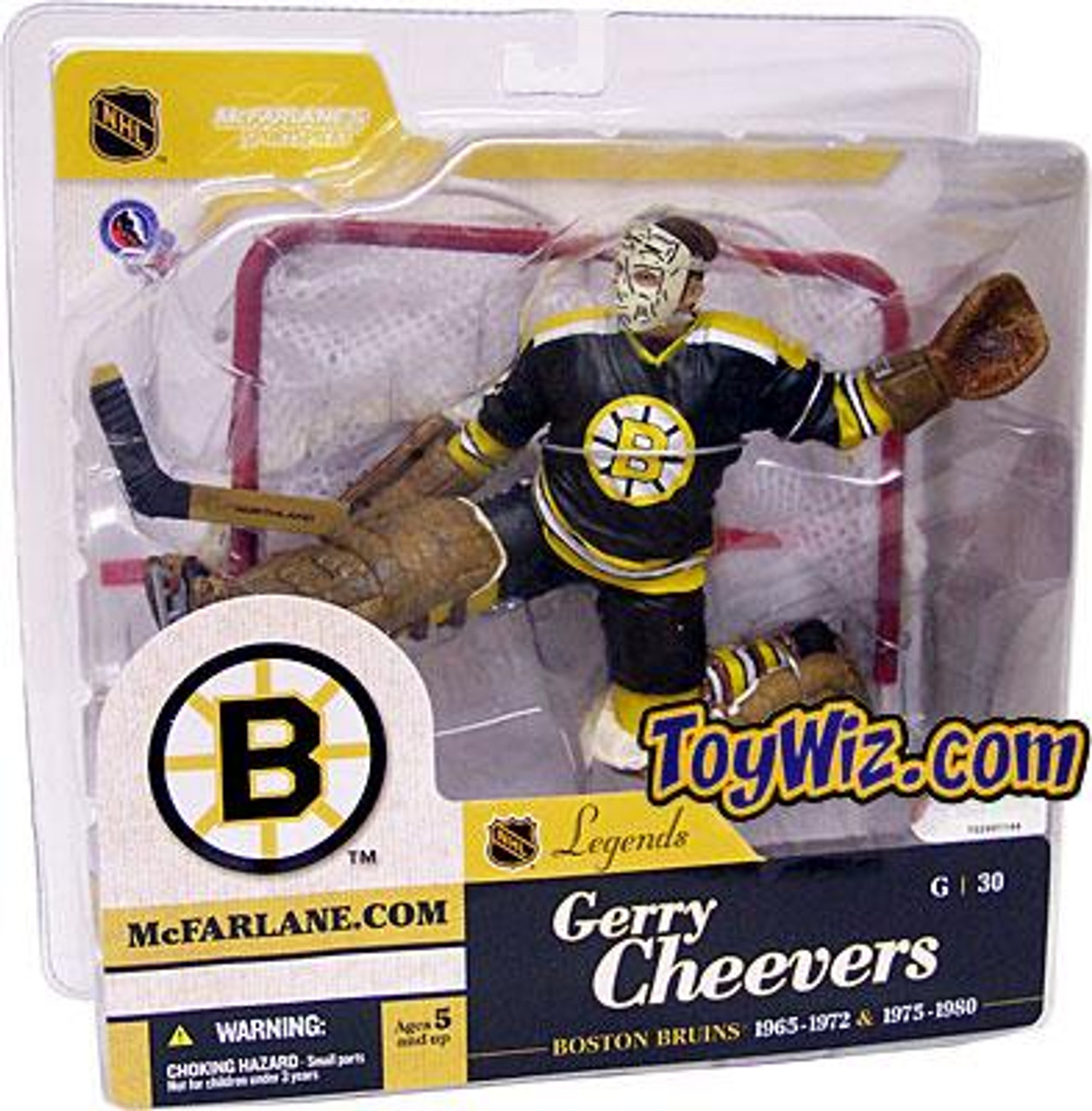 McFarlane Toys NHL Boston Bruins Sports Picks Legends Series 1 Gerry Cheevers Action Figure [Black Jersey]