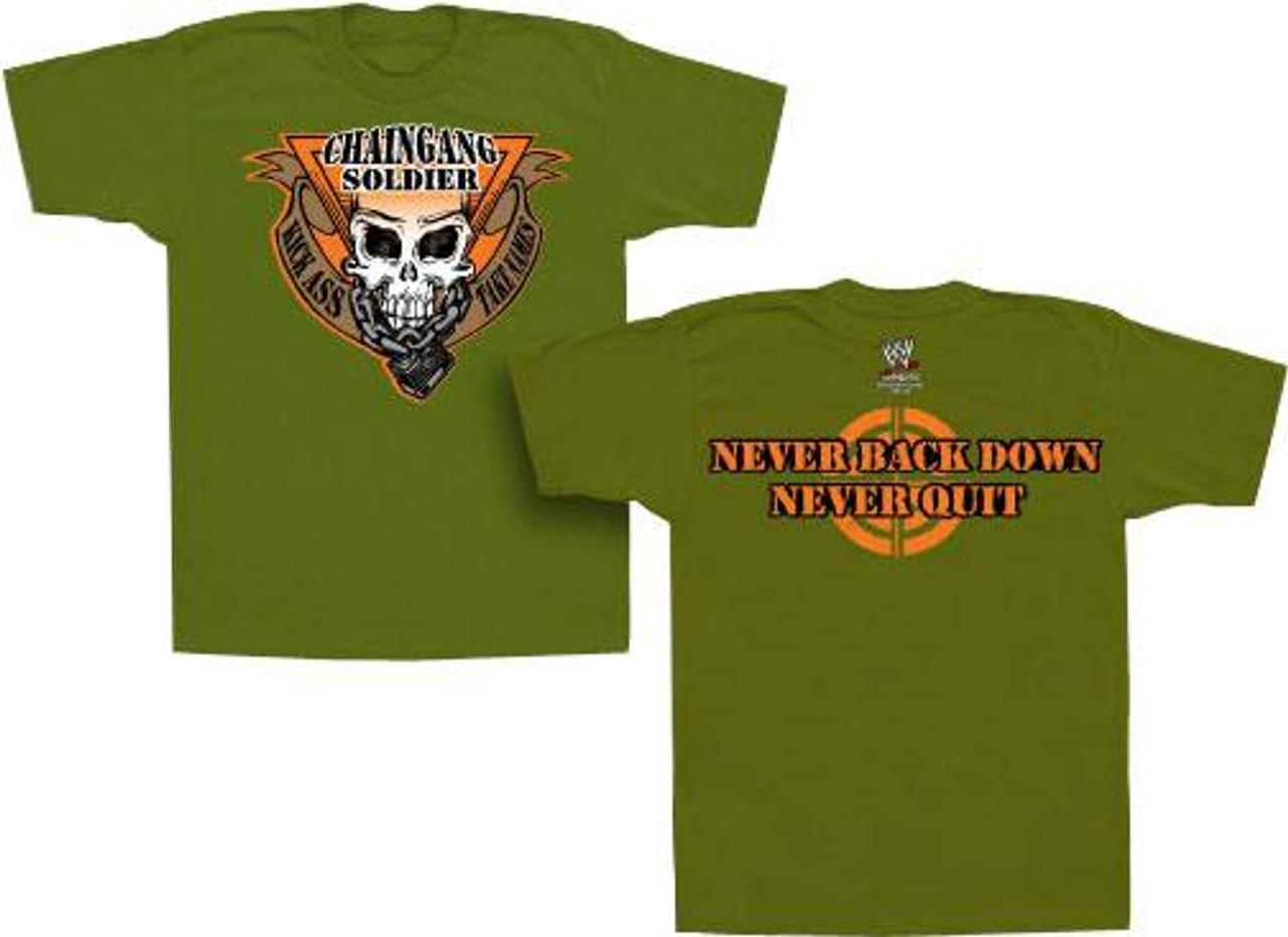 """WWE Wrestling """"Chaingang Soldier/Never Back Down"""" T-Shirt TV144 [Adult M]"""