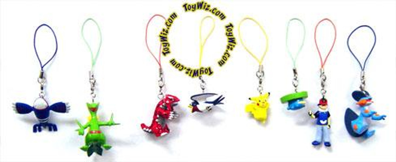 Pokemon Set of 8 Phone Danglers PVC Figures [Ash, Groudon & Kyogre]