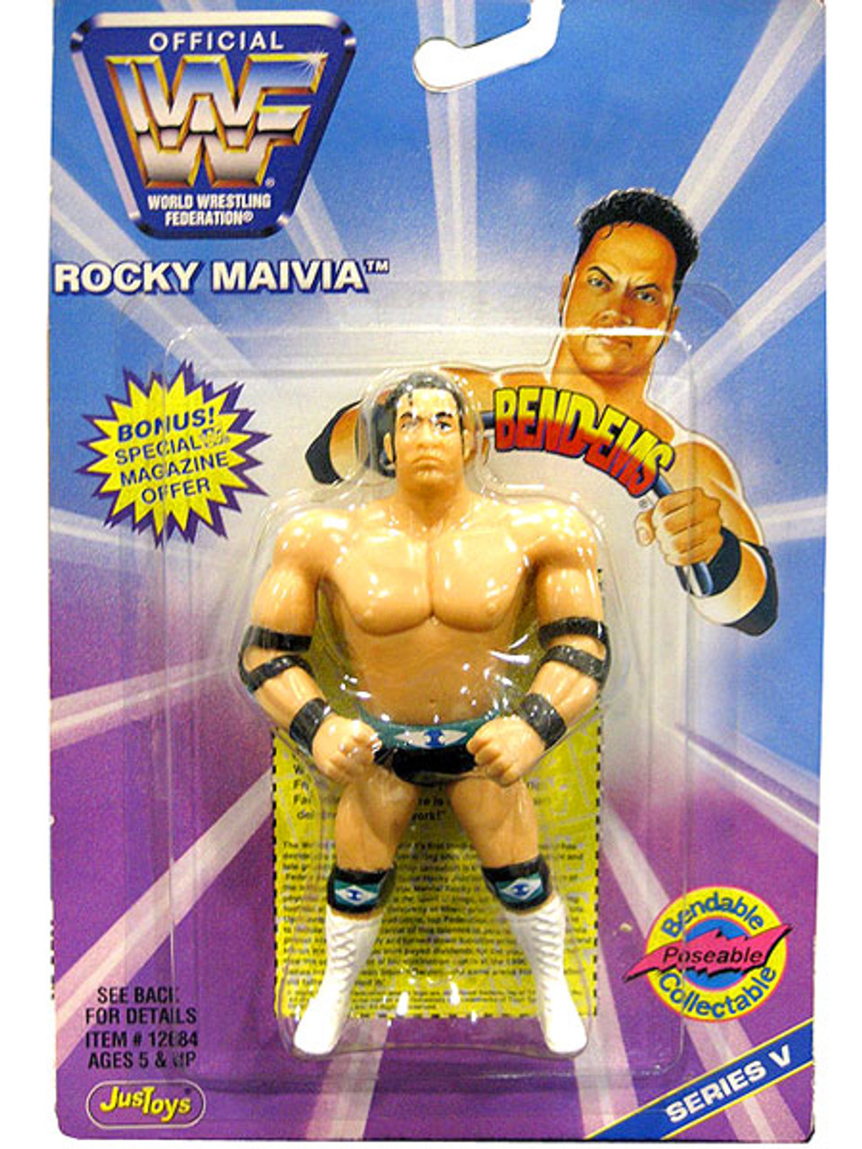 WWE Wrestling WWF Bend-Ems Series 5 Rocky Maivia Rubber Figure