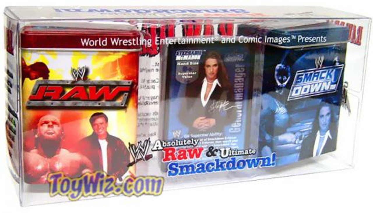 WWE Wrestling Raw Deal Trading Card Game Absolutely Raw & Ultimate Smackdown Tin Set