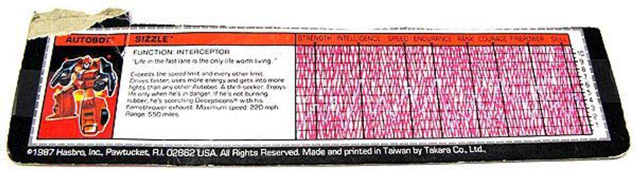 Transformers Generation 1 Vintage Sizzle Filecard