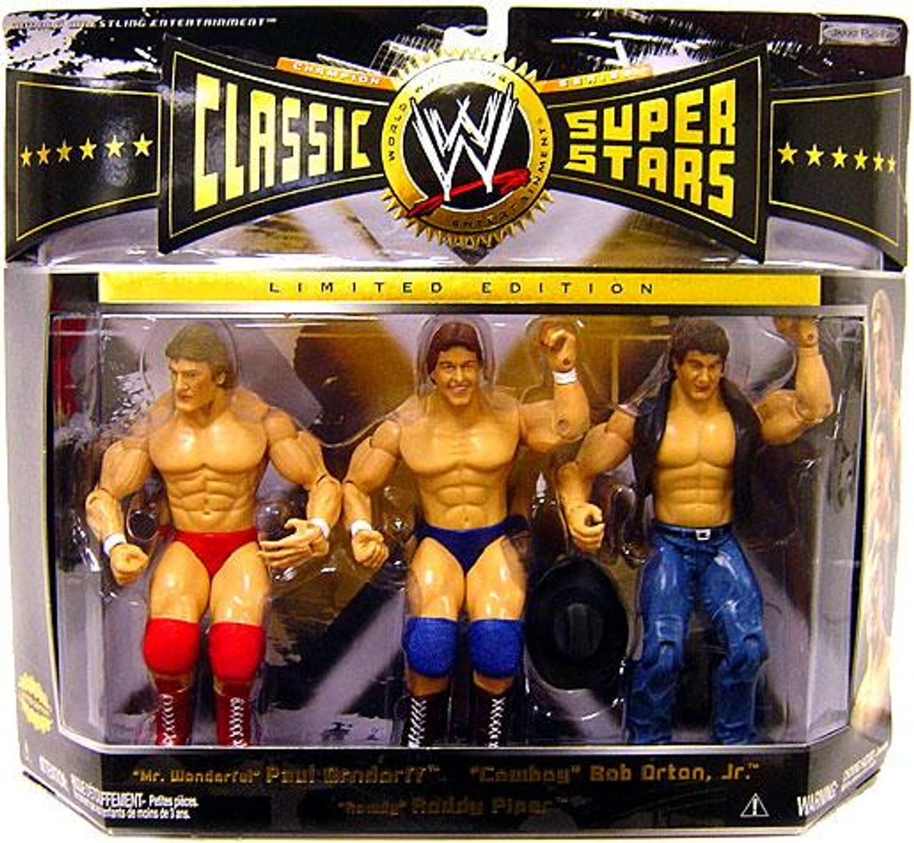 WWE Wrestling Classic Superstars Series 6 Rowdy Roddy Piper, Paul Orndorff & Bob Orton Jr. Exclusive Action Figure 3-Pack