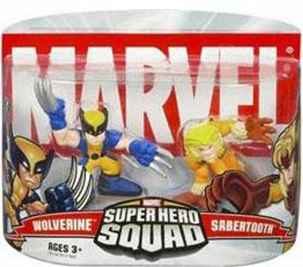 Marvel Super Hero Squad Series 1 Wolverine & Sabretooth Action Figure 2-Pack