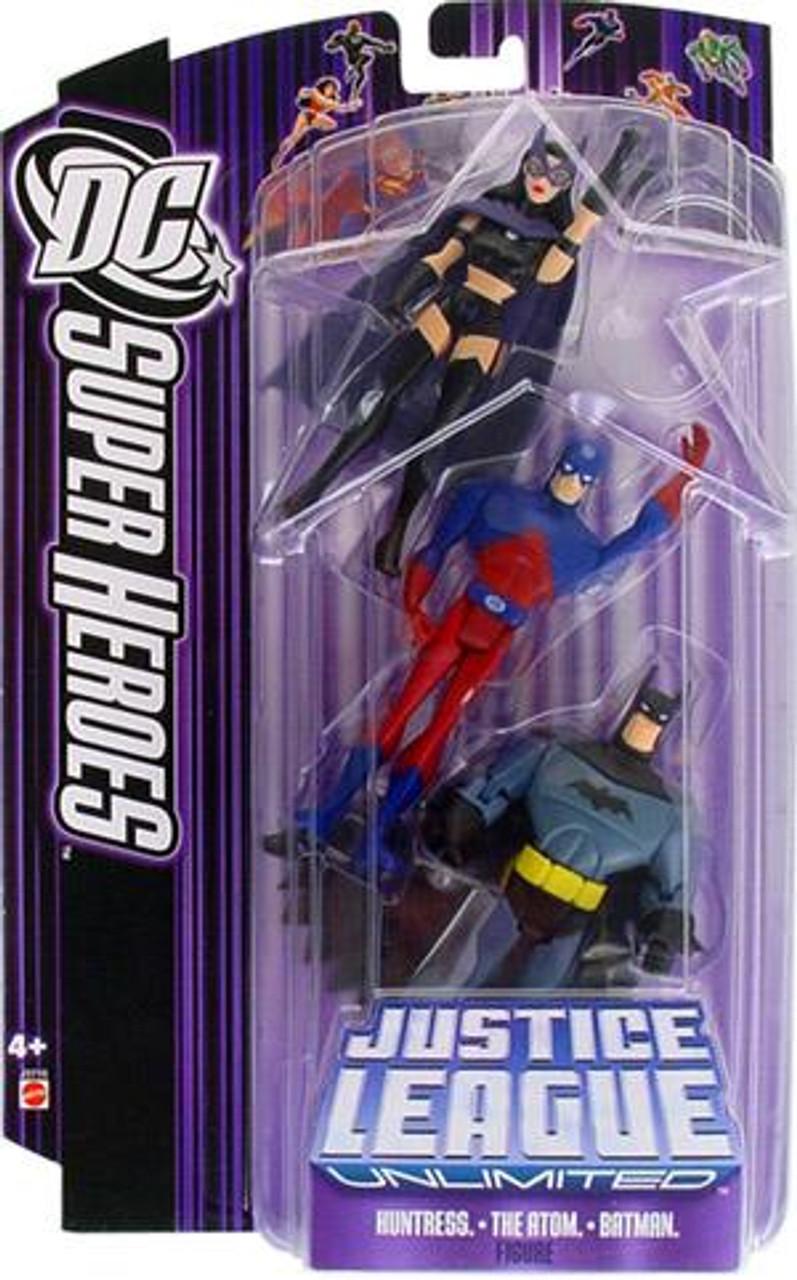 DC Justice League Unlimited Super Heroes Huntress, Atom & Batman Action Figures
