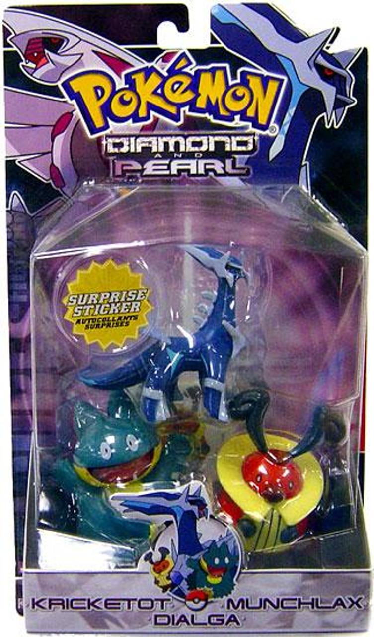 Pokemon Diamond & Pearl Series 2 Dialga, Munchlax & Kricketot Figure 3-Pack