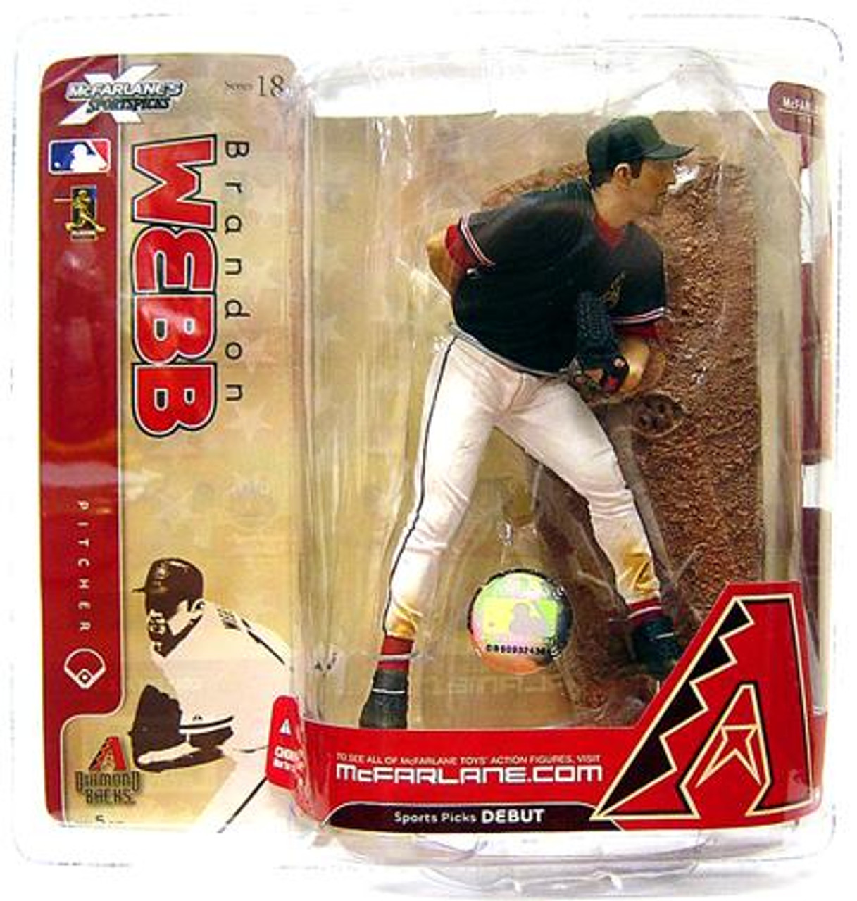 McFarlane Toys MLB Arizona Diamondbacks Sports Picks Series 18 Brandon Webb Action Figure [Black Jersey Variant]