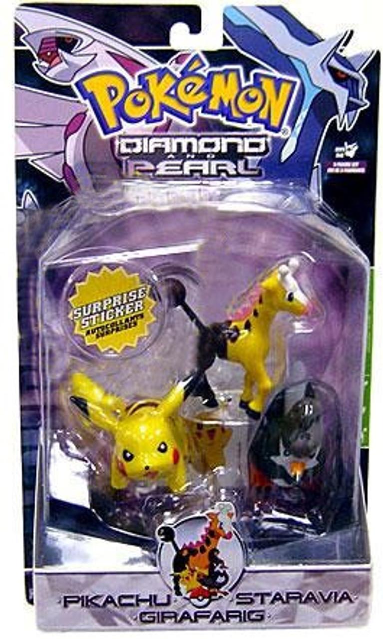 Pokemon Diamond & Pearl Series 3 Pikachu, Staravia & Girafarig Figure 3-Pack