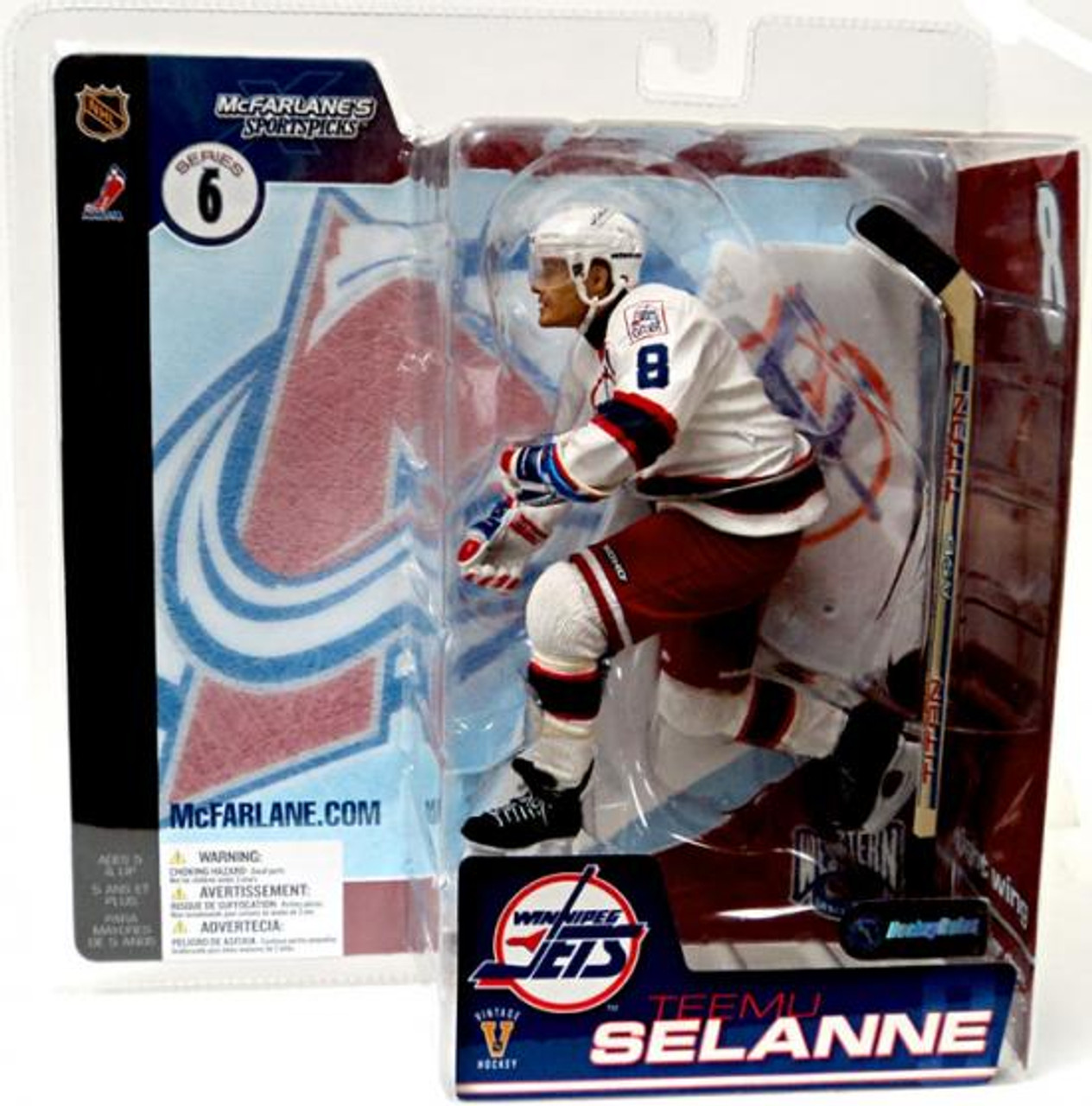 McFarlane Toys NHL Colorado Avalanche Sports Picks Series 6 Teemu Selanne Action Figure [White Jersey Red Pants Variant]