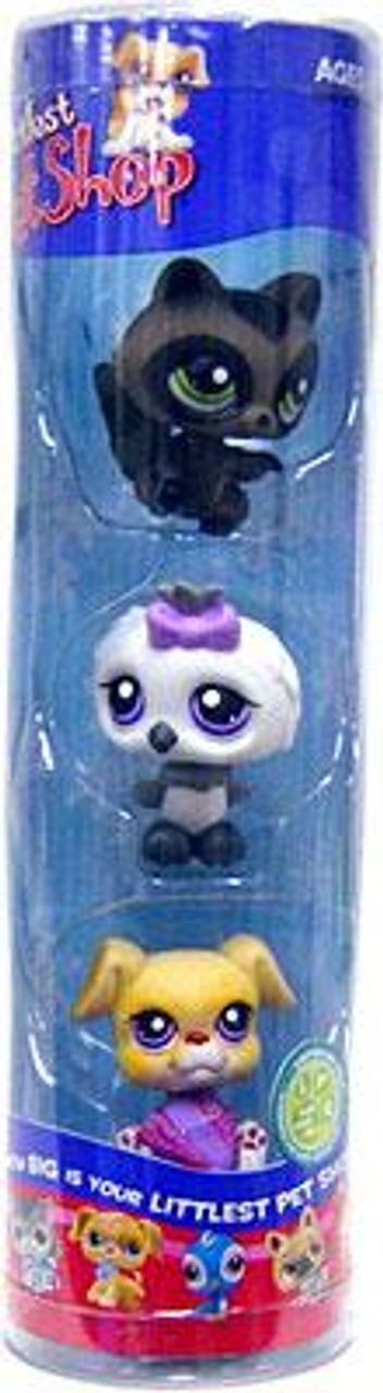 Littlest Pet Shop Raccoon, White Owl & Baby Boxer Exclusive Figure 3-Pack