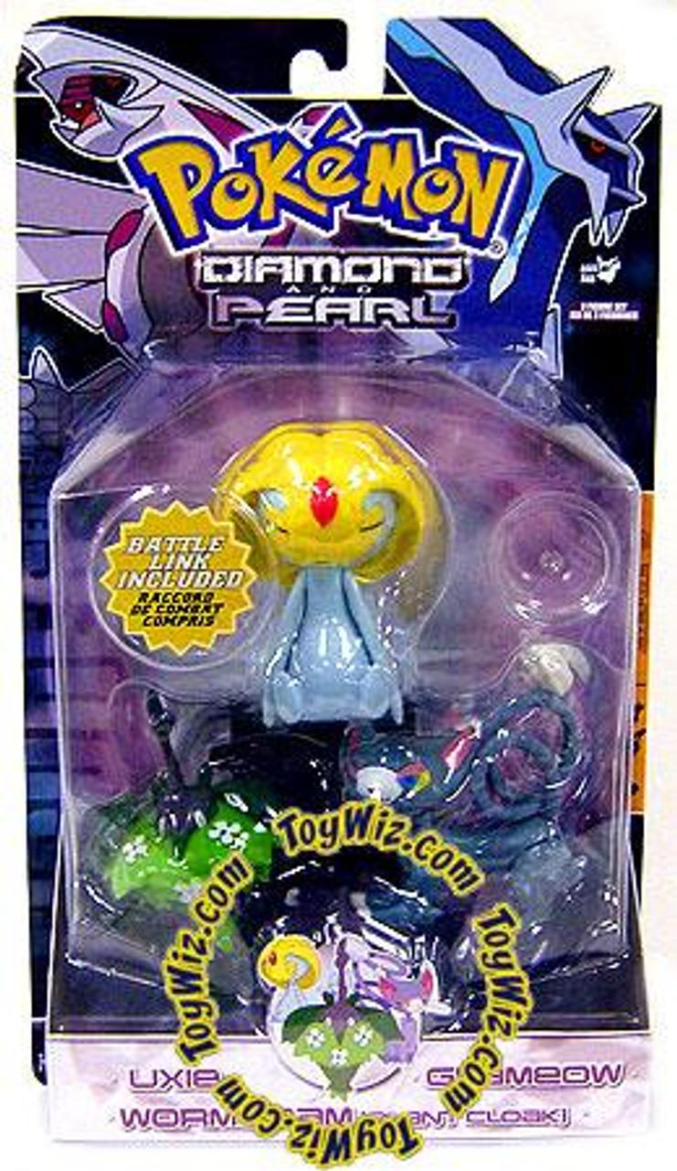 Pokemon Diamond & Pearl Series 5 Glameow, Uxie & Wormadam [Plant Cloak] Figure 3-Pack
