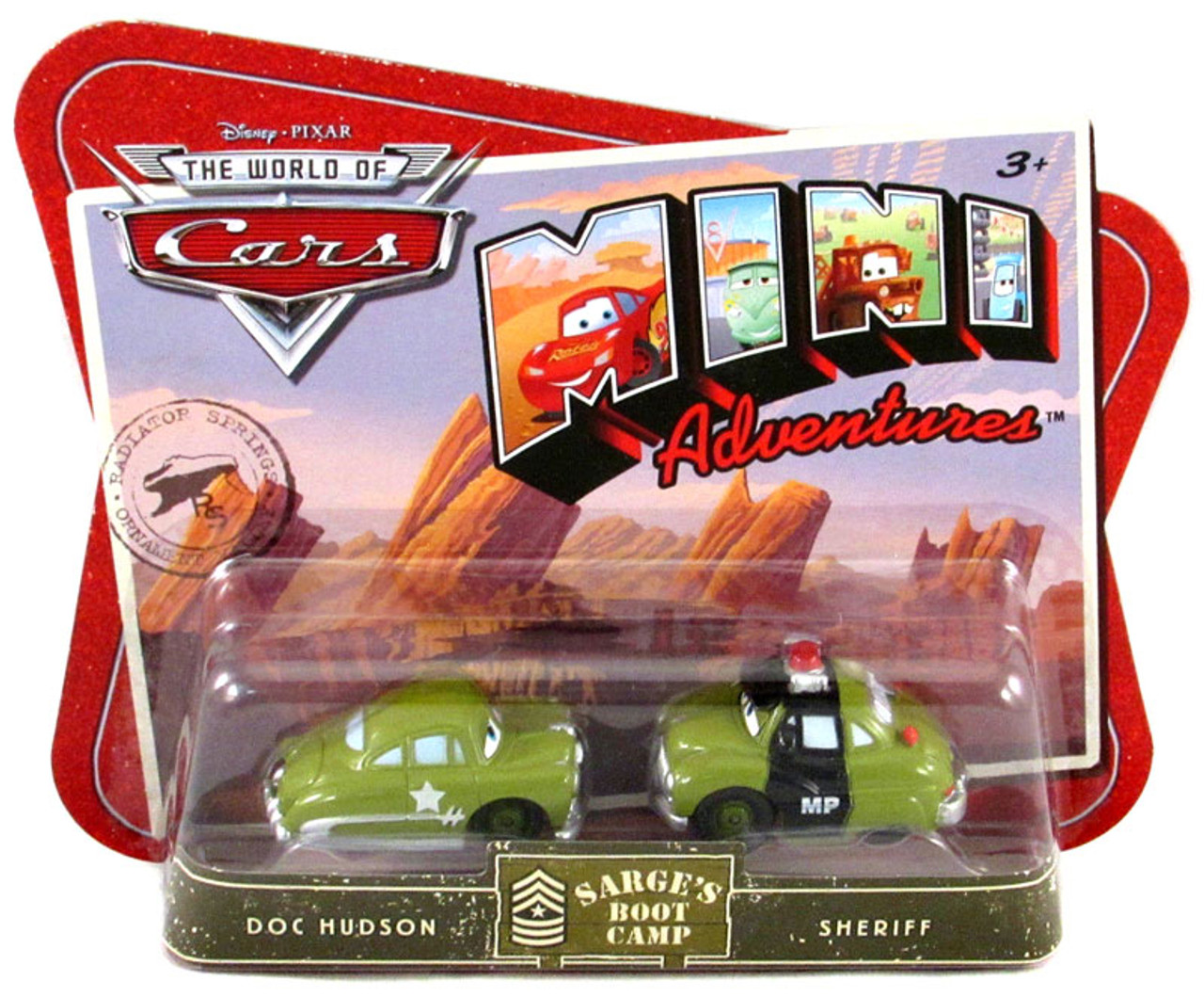 Disney Cars The World of Cars Mini Adventures Doc & Sheriff Plastic Car 2-Pack [Sarge's Boot Camp]