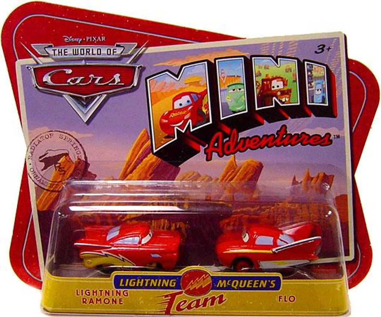 Disney Cars The World of Cars Mini Adventures Lightning Ramone & Flo Plastic Car 2-Pack [Lightning McQueen's Team]