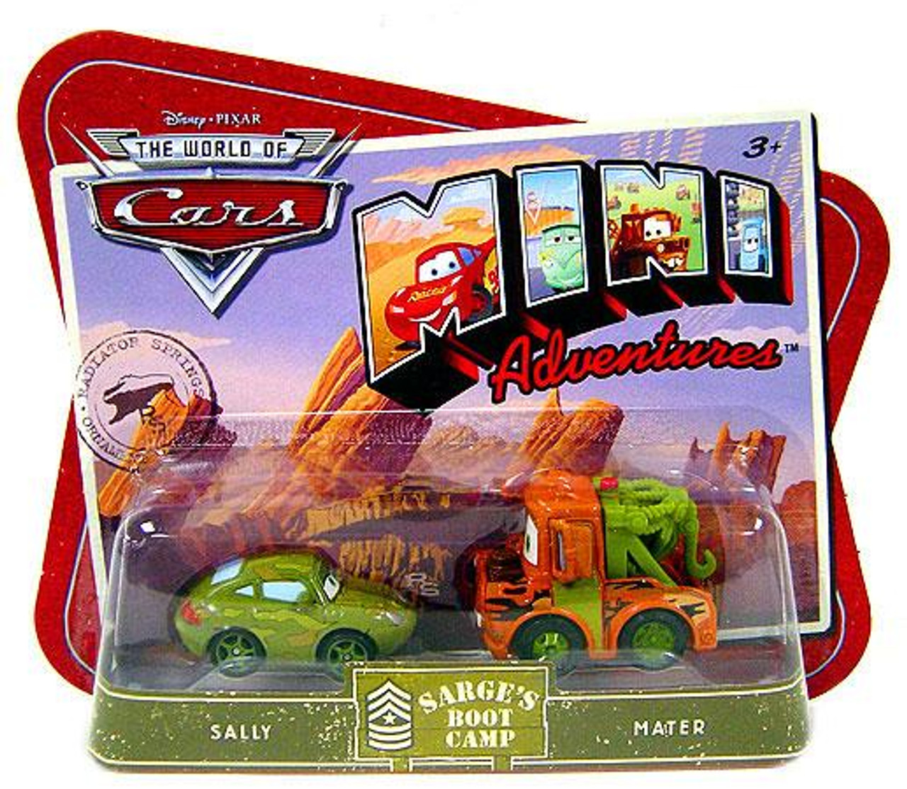 Disney Cars The World of Cars Mini Adventures Sally & Mater Plastic Car 2-Pack [Sarge's Boot Camp]