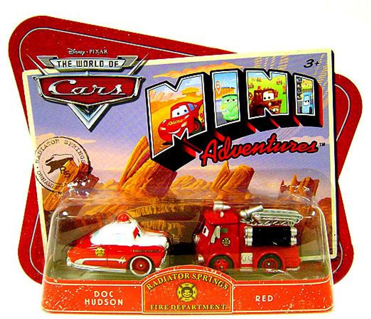 Disney Cars The World of Cars Mini Adventures Radiator Springs Fire Department Plastic Car 2-Pack [Doc Hudson & Red]