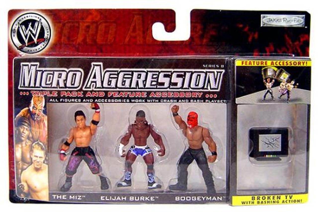 WWE Wrestling Micro Aggression Series 8 Miz, Boogeyman & Elijah Burke Mini Figure 3-Pack [Broken TV]