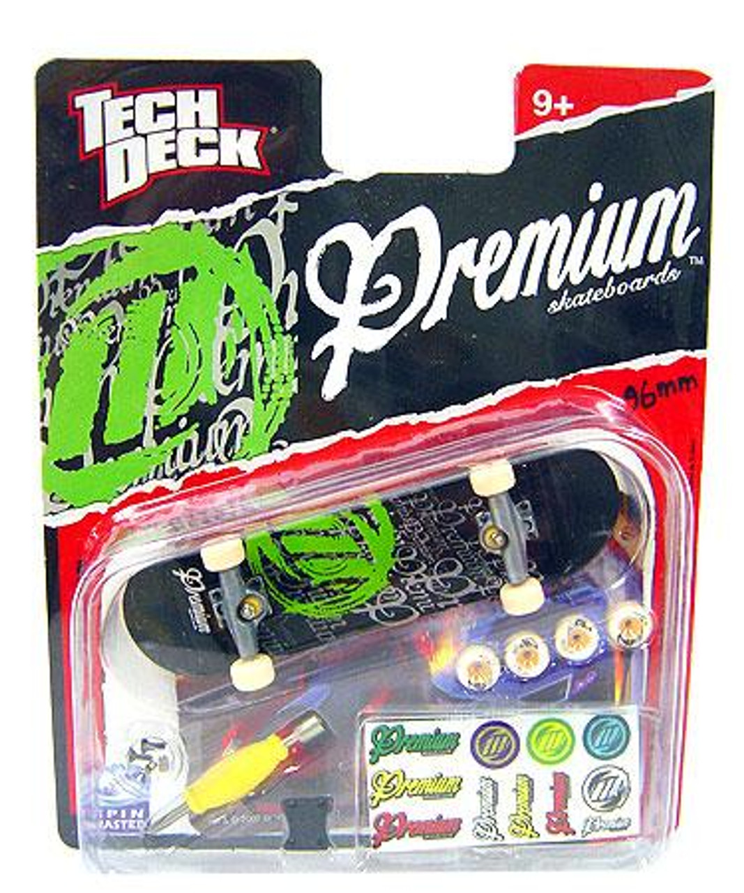 Tech Deck Premium 96mm Mini Skateboard [Black & Green]