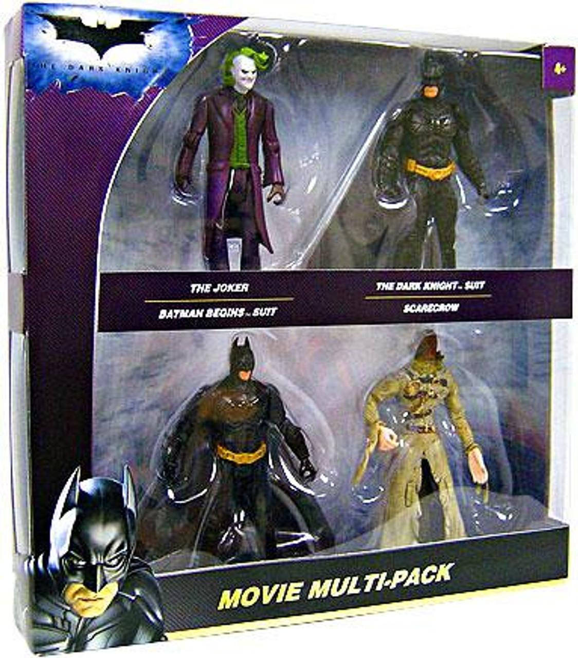 The Dark Knight Joker, Batman, Dark Knight & Scarecrow Action Figure 4-Pack [Movie Multipack]