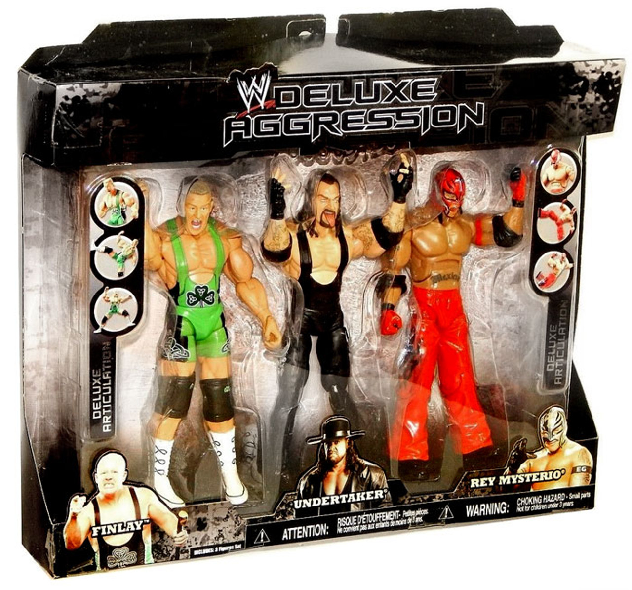 WWE Wrestling Deluxe Aggression Rey Mysterio, Undertaker & Finlay Exclusive Action Figure 3-Pack