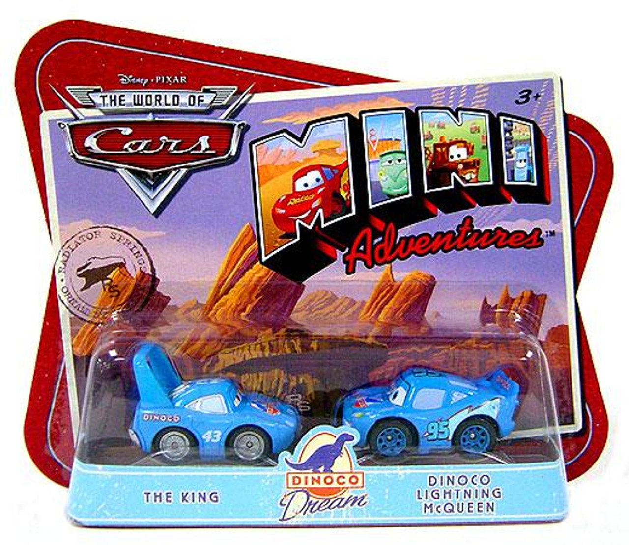 Disney Cars The World of Cars Mini Adventures Dinoco Dream Plastic Car 2-Pack [The King & Dinoco Lightning McQueen]