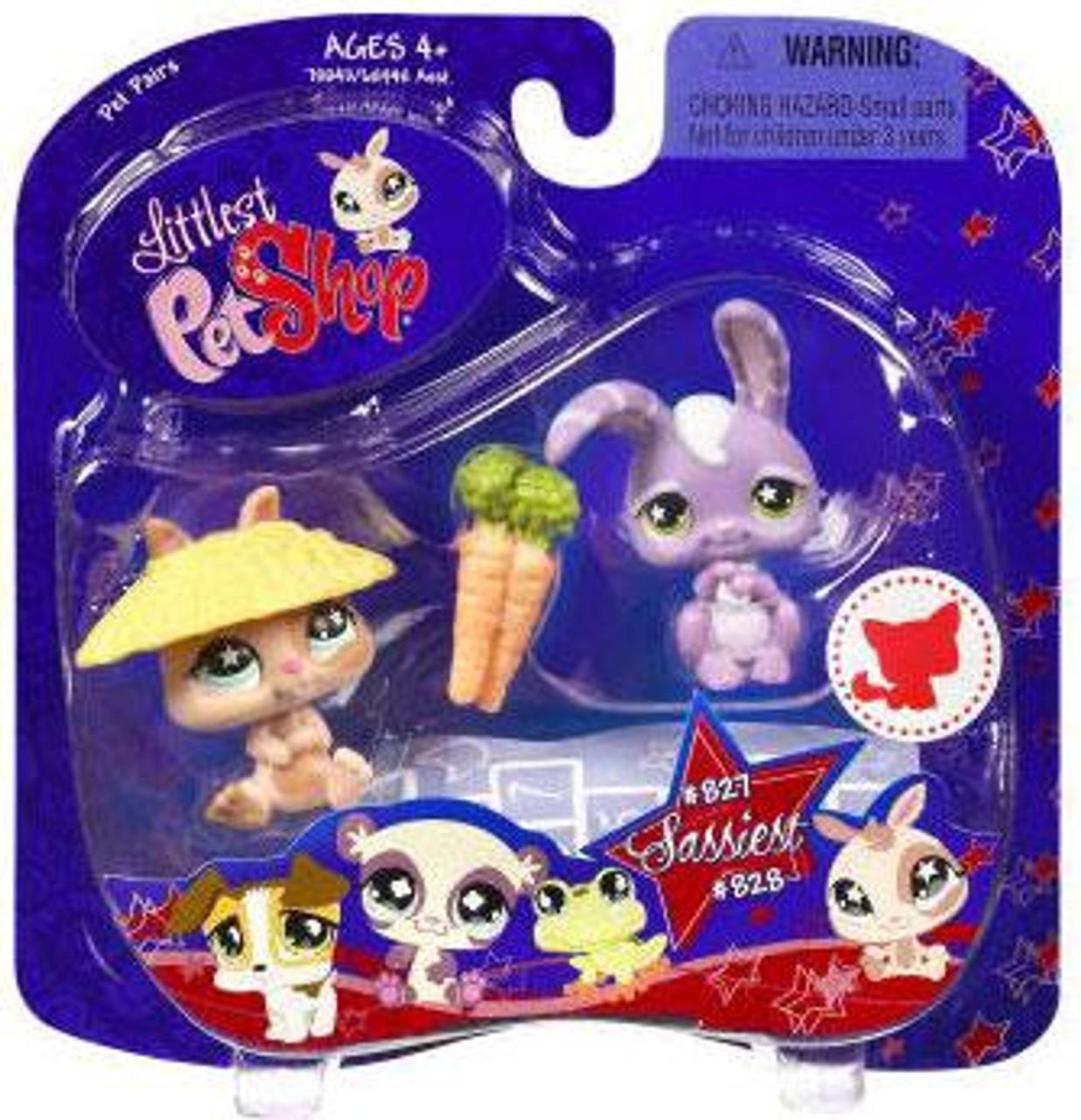 Littlest Pet Shop 2009 Assortment B Series 1 Bunny Figure 2-Pack #827, 828 [Dwarf Bunny]