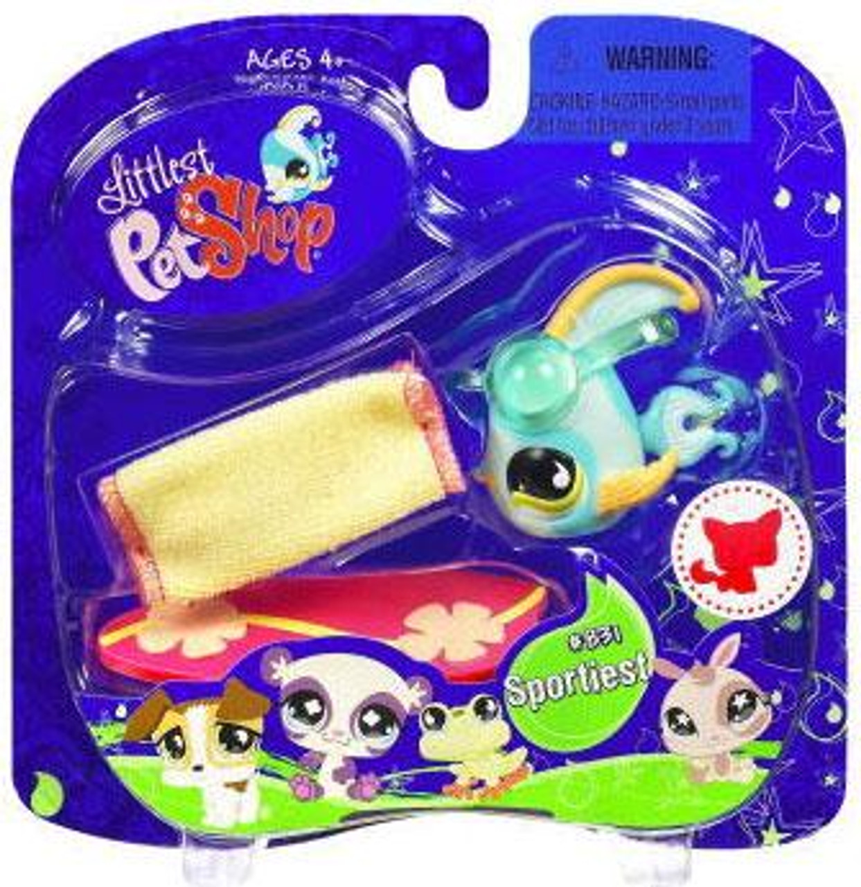 Littlest Pet Shop 2009 Assortment B Series 2 Angelfish Figure #831 [Blue with Surf Board]