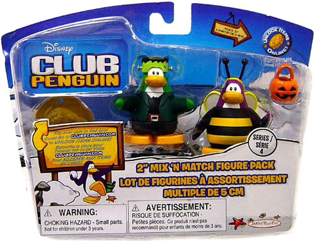 Club Penguin Mix 'N Match Series 1 Bumble Bee & Frankenpenguin Mini Figure Set