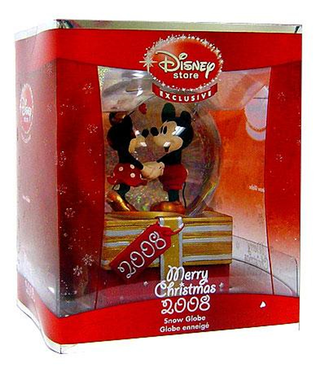 Disney Merry Christmas 2008 Minnie & Mickey Mouse Exclusive Snow Globe