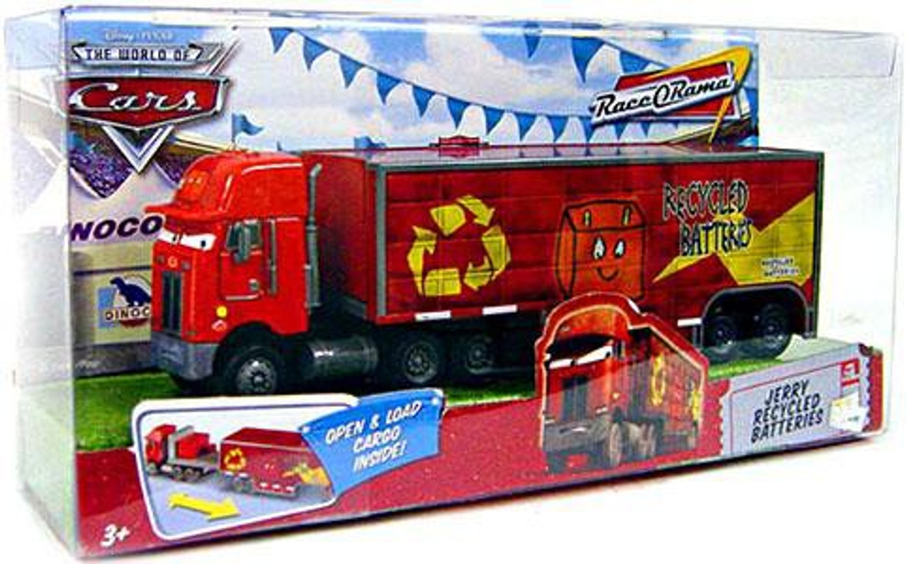 Disney Cars The World of Cars Race-O-Rama Jerry Recycled Batteries Hauler Diecast Car Playset