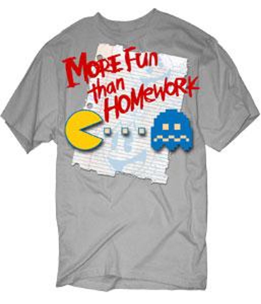 Pac Man More Fun Than Homework T-Shirt [Youth XL]