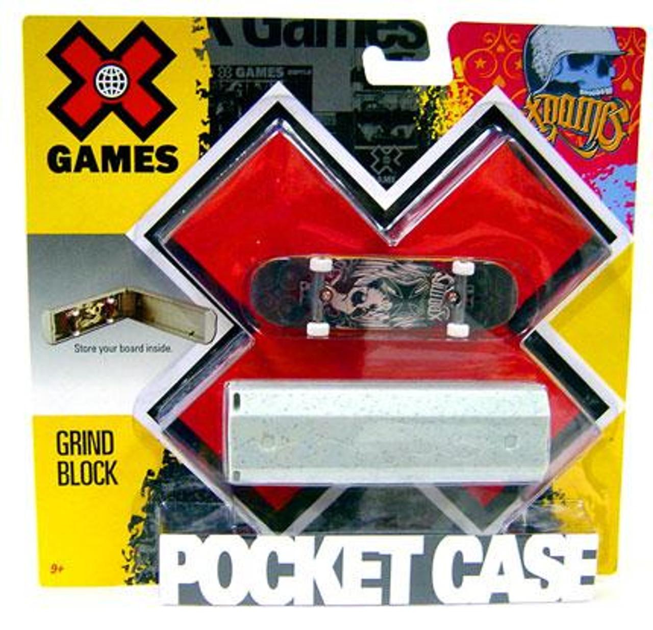 X Games Extreme Sports Grind Block Mini Skateboard Pocket Case